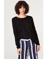 schwarzer Pullover mit einem Rundhalsausschnitt von edc by Esprit
