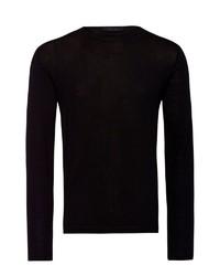 schwarzer Pullover mit einem Rundhalsausschnitt von Falke