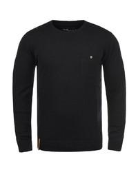 schwarzer Pullover mit einem Rundhalsausschnitt von INDICODE