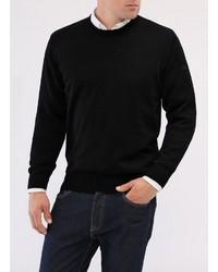 schwarzer Pullover mit einem Rundhalsausschnitt von MAERZ Muenchen