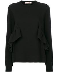 schwarzer Pullover mit einem Rundhalsausschnitt von Marni