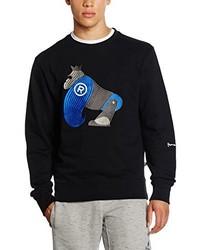 schwarzer Pullover mit einem Rundhalsausschnitt von Money