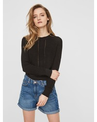 schwarzer Pullover mit einem Rundhalsausschnitt von Noisy May