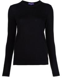 schwarzer Pullover mit einem Rundhalsausschnitt