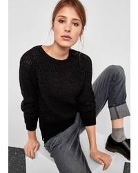 schwarzer Pullover mit einem Rundhalsausschnitt von Q/S designed by