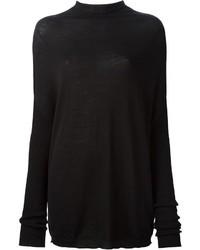 schwarzer Pullover mit einem Rundhalsausschnitt von Rick Owens