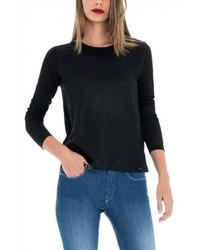 schwarzer Pullover mit einem Rundhalsausschnitt von Salsa