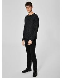 schwarzer Pullover mit einem Rundhalsausschnitt von Selected Homme