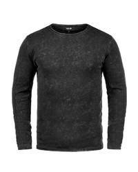 schwarzer Pullover mit einem Rundhalsausschnitt von Solid