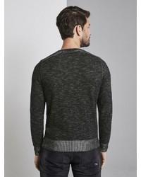 schwarzer Pullover mit einem Rundhalsausschnitt von Tom Tailor