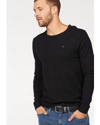 schwarzer Pullover mit einem Rundhalsausschnitt von Tommy Jeans