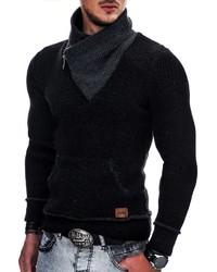 schwarzer Pullover mit einem Schalkragen von INDICODE