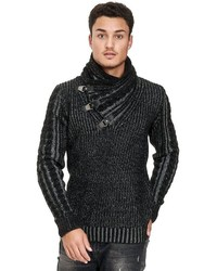 schwarzer Pullover mit einem Schalkragen von Redbridge