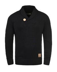 schwarzer Pullover mit einem Schalkragen von Solid
