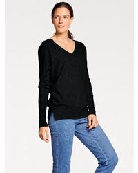 schwarzer Pullover mit einem V-Ausschnitt von ASHLEY BROOKE by Heine