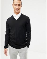 schwarzer Pullover mit einem V-Ausschnitt von ASOS DESIGN