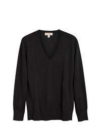 schwarzer Pullover mit einem V-Ausschnitt von Burberry