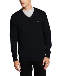 schwarzer Pullover mit einem V-Ausschnitt von Crew Clothing