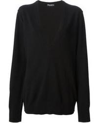 schwarzer Pullover mit einem V-Ausschnitt von Dolce & Gabbana
