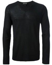schwarzer Pullover mit einem V-Ausschnitt von Emporio Armani