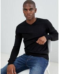 schwarzer Pullover mit einem V-Ausschnitt von French Connection