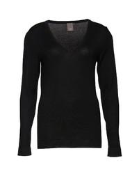 schwarzer Pullover mit einem V-Ausschnitt von Ichi