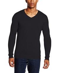 schwarzer Pullover mit einem V-Ausschnitt von Lee
