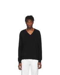 schwarzer Pullover mit einem V-Ausschnitt von Maison Margiela