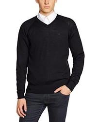 schwarzer Pullover mit einem V-Ausschnitt von Merc of London