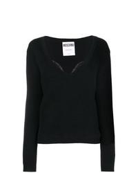 schwarzer Pullover mit einem V-Ausschnitt von Moschino
