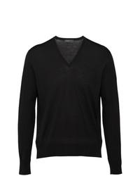 schwarzer Pullover mit einem V-Ausschnitt von Prada
