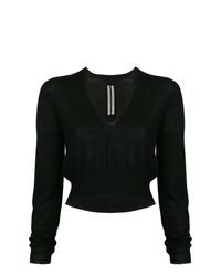 schwarzer Pullover mit einem V-Ausschnitt von Rick Owens
