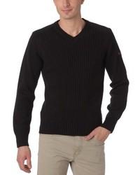schwarzer Pullover mit einem V-Ausschnitt von Schott NYC