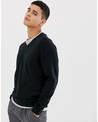 schwarzer Pullover mit einem V-Ausschnitt von Selected Homme