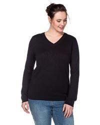 schwarzer Pullover mit einem V-Ausschnitt von SHEEGO BASIC