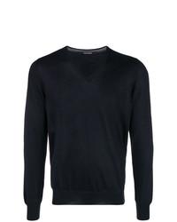 schwarzer Pullover mit einem V-Ausschnitt von Tagliatore