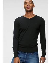 schwarzer Pullover mit einem V-Ausschnitt von Tom Tailor