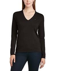 schwarzer Pullover mit einem V-Ausschnitt von Tommy Hilfiger