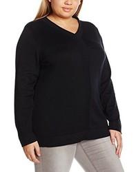 schwarzer Pullover mit einem V-Ausschnitt von Ulla Popken