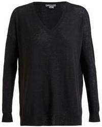 schwarzer Pullover mit einem V-Ausschnitt von Vince
