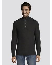 schwarzer Pullover mit einem zugeknöpften Kragen von Tom Tailor