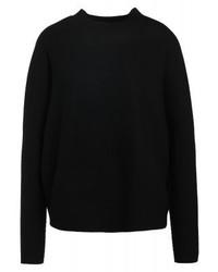 schwarzer Pullover mit einem Rundhalsausschnitt von Drykorn