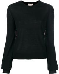 schwarzer Pullover mit einem Rundhalsausschnitt von Forte Forte