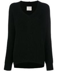 schwarzer Pullover mit einem V-Ausschnitt von Forte Forte