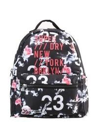 schwarzer Rucksack mit Blumenmuster von Superdry