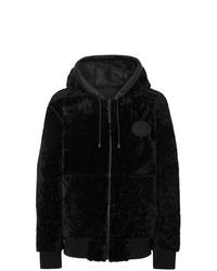 schwarzer Samtpullover mit einem kapuze von Burberry