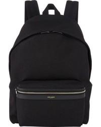 schwarzer Segeltuch Rucksack