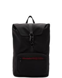 schwarzer Segeltuch Rucksack von Alexander McQueen