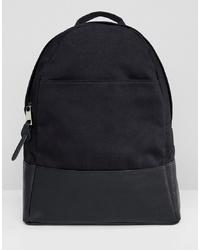 schwarzer Segeltuch Rucksack von ASOS DESIGN