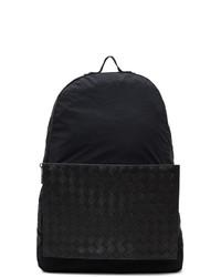 schwarzer Segeltuch Rucksack von Bottega Veneta